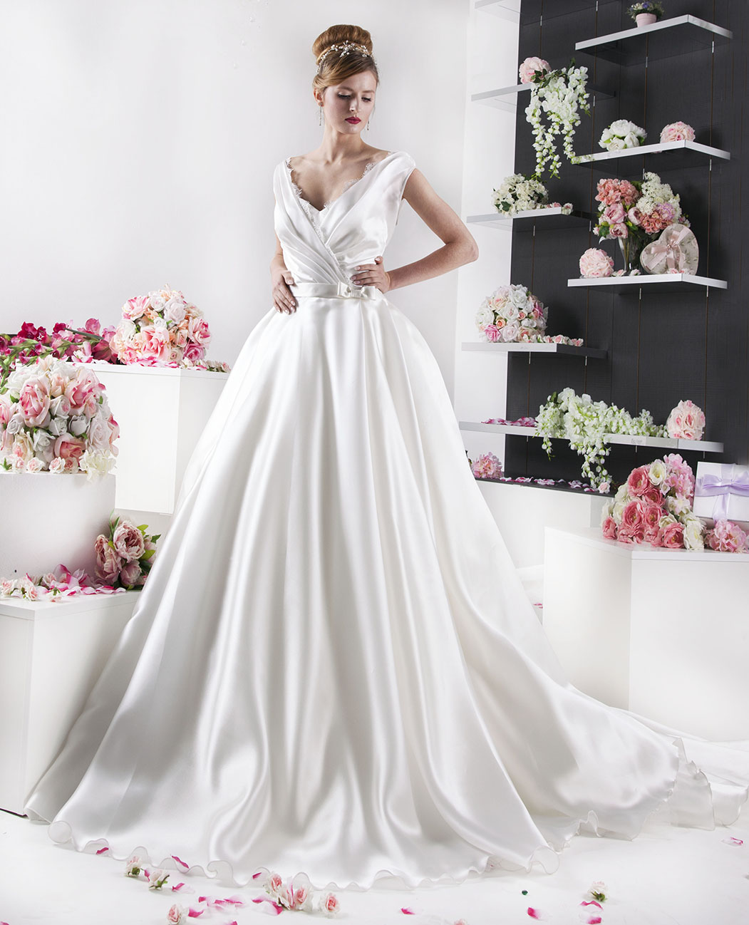 Robe de mariée en double organza cache coeur