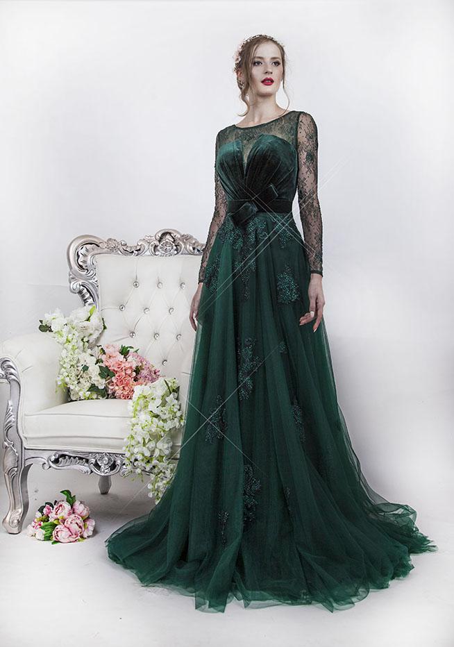 Robe de soirée à manches couleur vert sapin