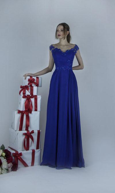 Robe de soirée bleu royal pur mariage classique