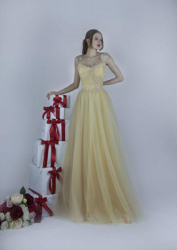 Robe de demoiselle d'honneur doré à Paris