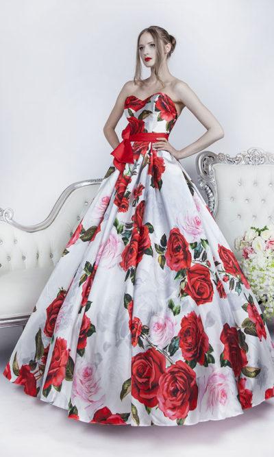 Robe de bal fleurie rouge et blanc