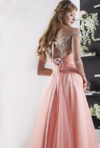 robe de soirée rose pâle