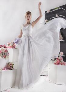robe de mariée aéré en mousseline et dentelle