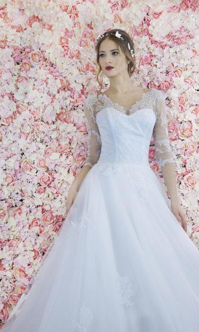 Robe de mariée trapèze avec jupe princesse