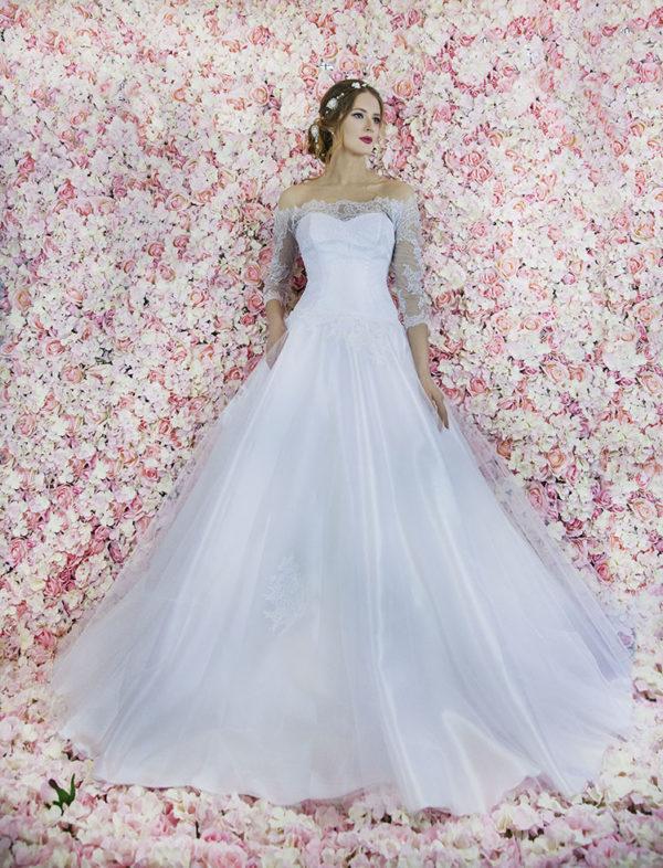 Robe de mariée princesse avec jupe majestueuse