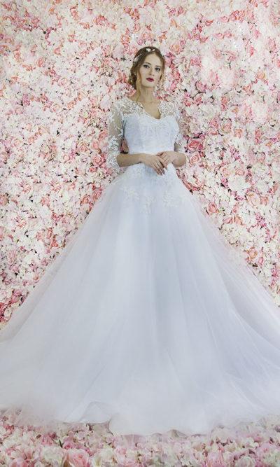 Robe de mariée avec manches en dentelle grande taille
