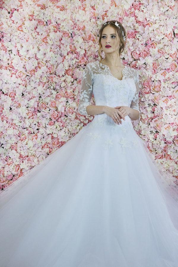 Robe de mariée avec manches grande taille