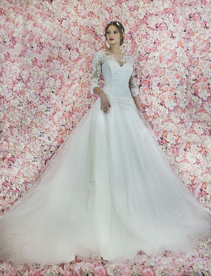 Robe de mariée style princesse à manches