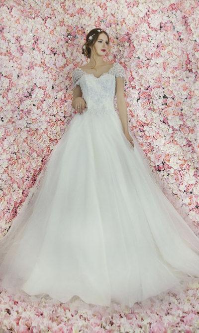 Robe de mariage ivoire Paris en tulle et satin