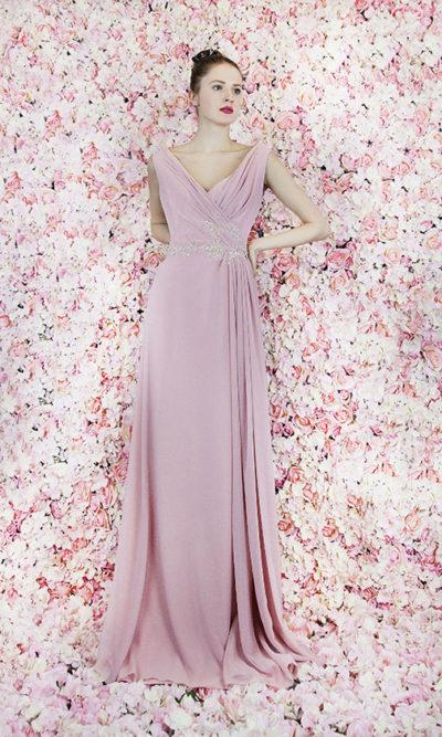 Robe de soirée maman mariée rose pâle