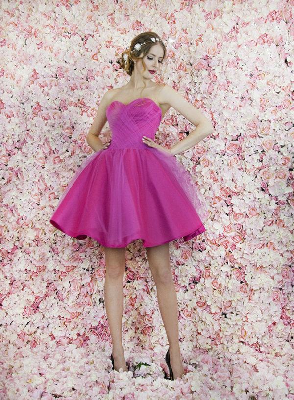 Robe de soirée rose framboise pour mariage