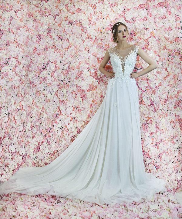 Robe de mariée avec jupe en mousseline luxueuse