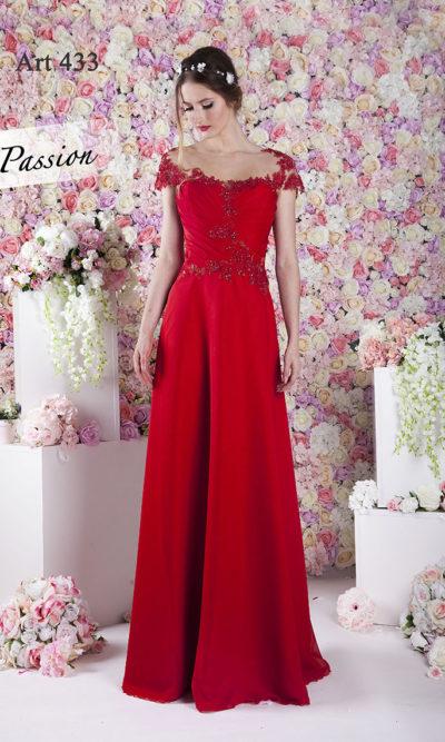 Robe de soirée en mousseline rouge mariage