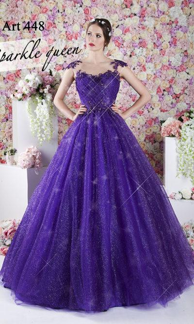 Robe de bal scintillante couleur violette