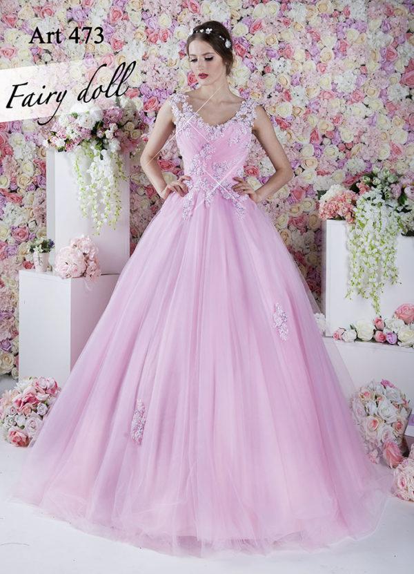 Robe de bal rose claire comme bonbon
