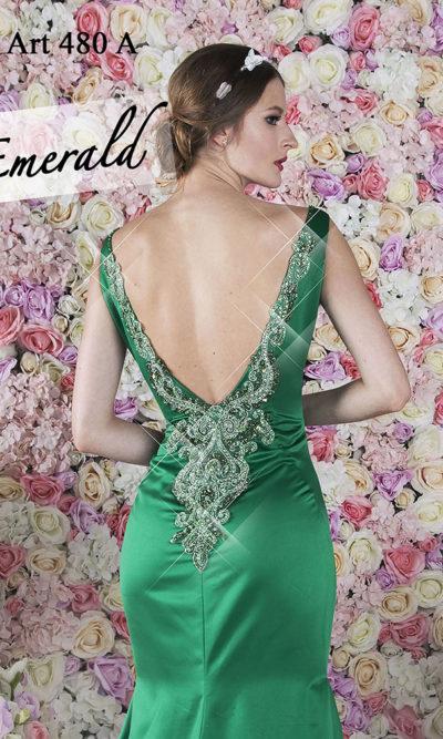 Robe de soirée sirène brillante de couleur vert