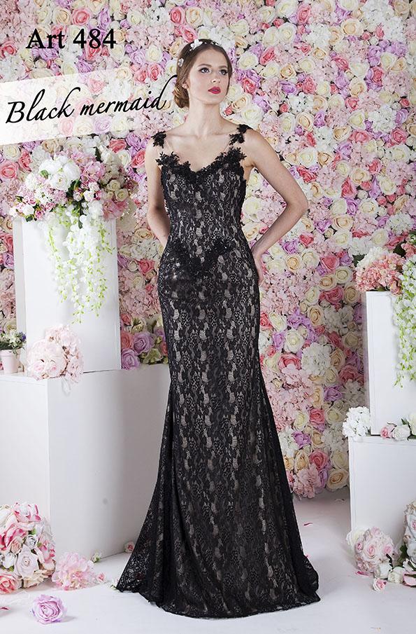 Robe de soirée sirène sexy avec dentelle noire