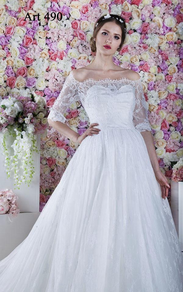 Robe de mariée tendre en dentelle fine et féminine