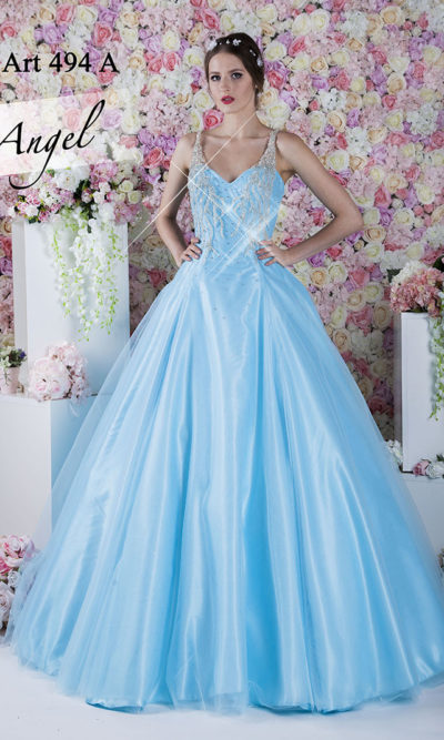 Robe de soirée princesse pour bal de promo bleu ciel