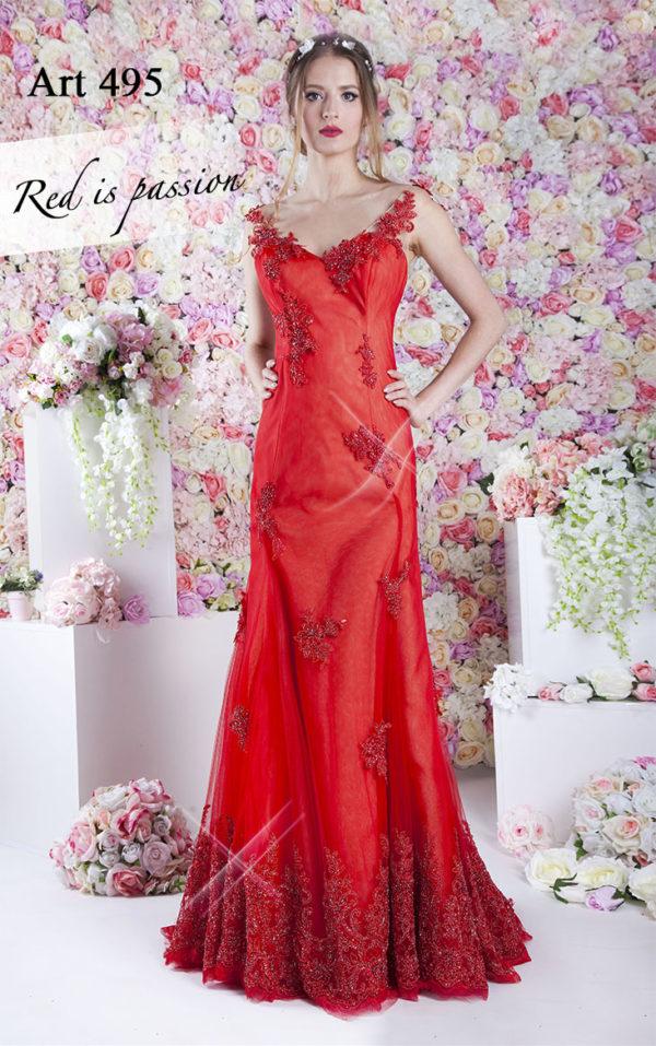 Robe de soirée avec un décolleté en dentelle rouge