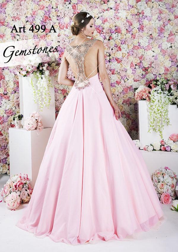 Robe de soirée chic et très noble rose pâle