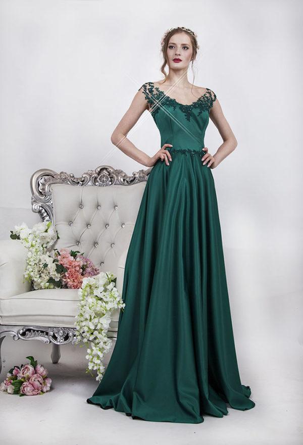 Robe de soirée longue habillée verte