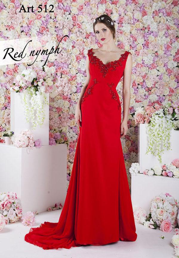 Robe de soirée droite rouge et mousseline chic