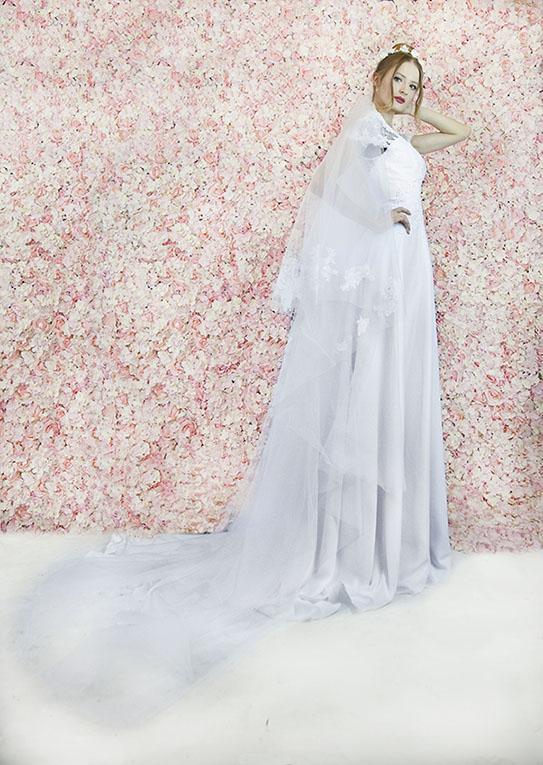 Voile de mariée coupe cathédrale avec dentelle luxueuse