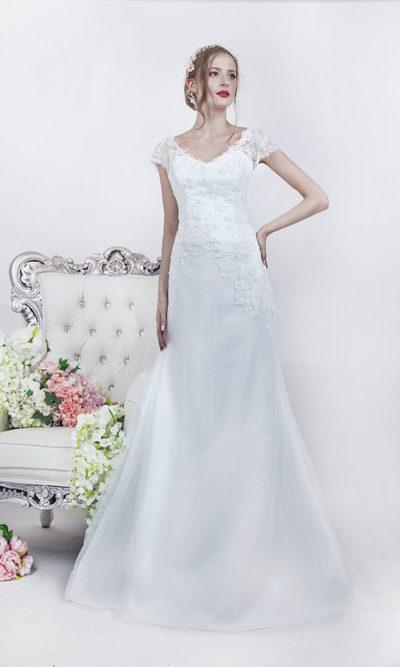 Robe de mariage épurée bohème chic sirène