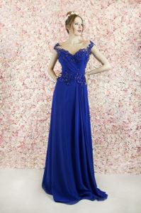 Robe de soirée fluide bleu royal avec un haut travaillé