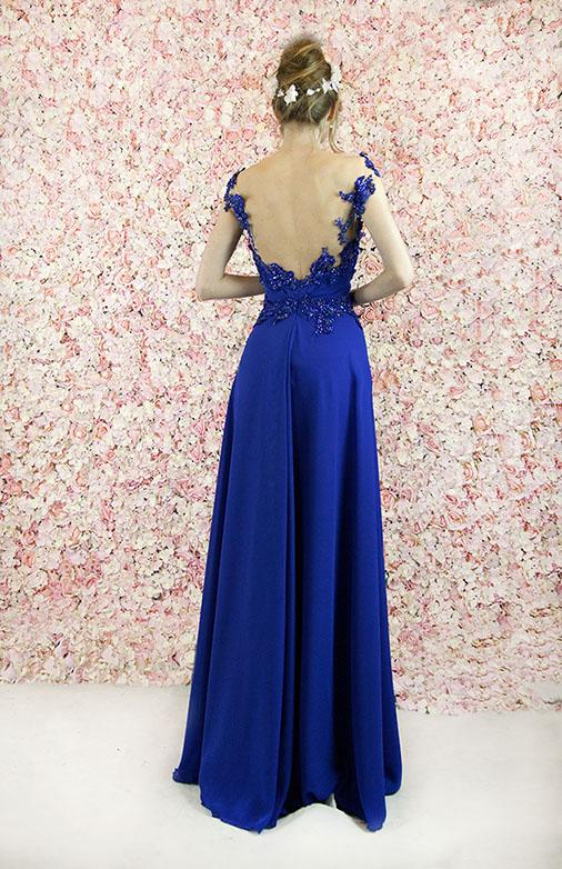 Robe de soirée longue bleu marine