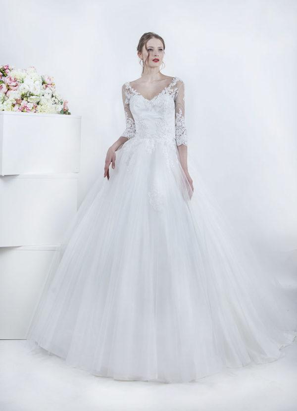 Robe de mariée avec manches longues
