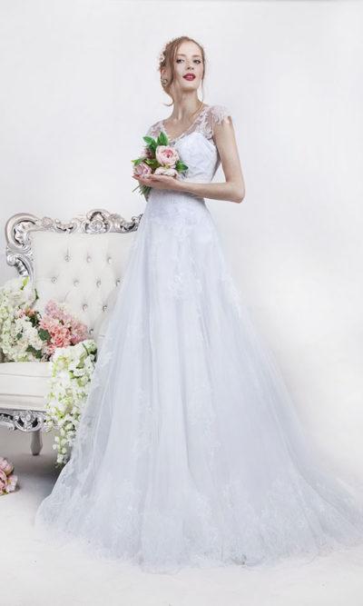 Robe de mariée trapèze en dentelle élégante