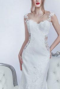 Robe de mariage pour la plage avec des éléments transparents en dentelle