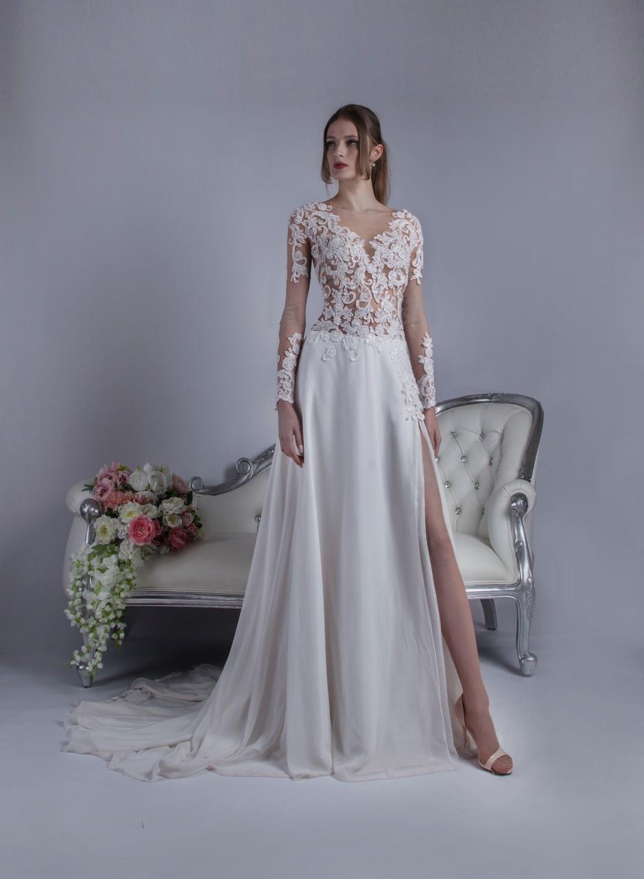 Robe de mariage avec manches en dentelle brodée