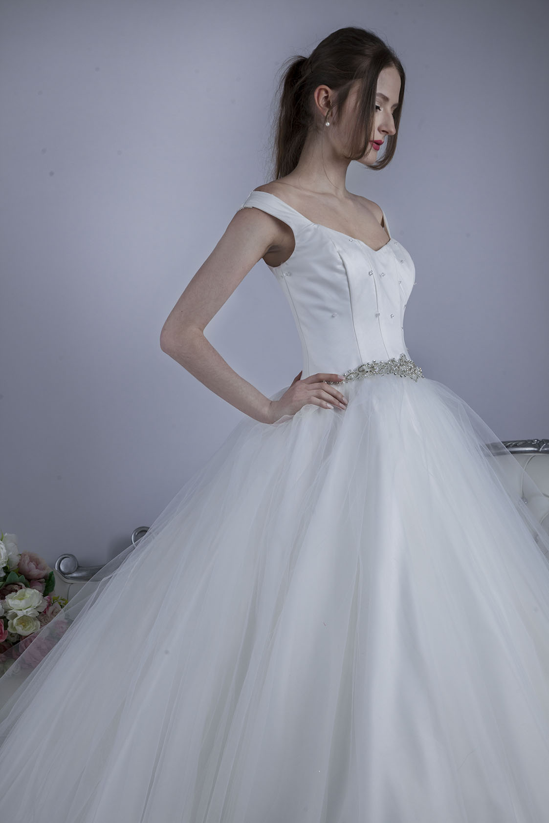Robe de mariage trapèze en tulle