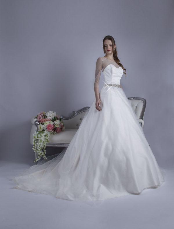 Robe de mariage princesse avec ceinture scintillante