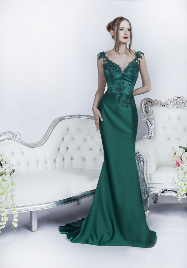 Robe de cérémonie pour mariage vert émeraude en satin