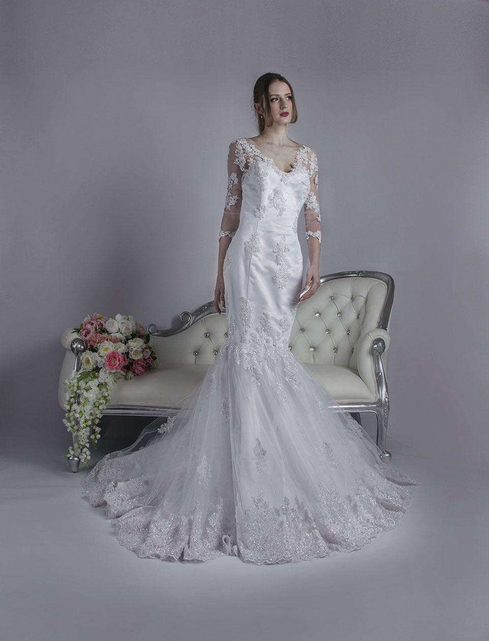 Robe de mariée sirène scintillante à manches