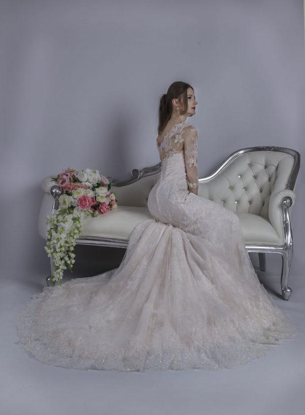 Robe de mariage sirène rose et blanc cassé