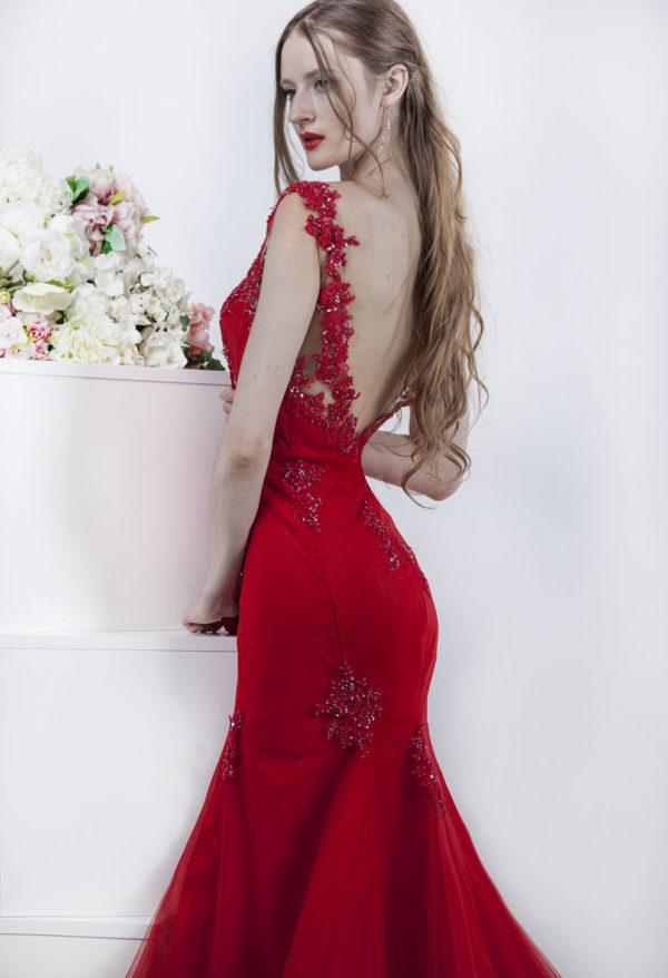 Robe de soirée sirène moulante rouge sexy