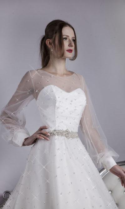 Robe de mariée avec brillants et paillettes