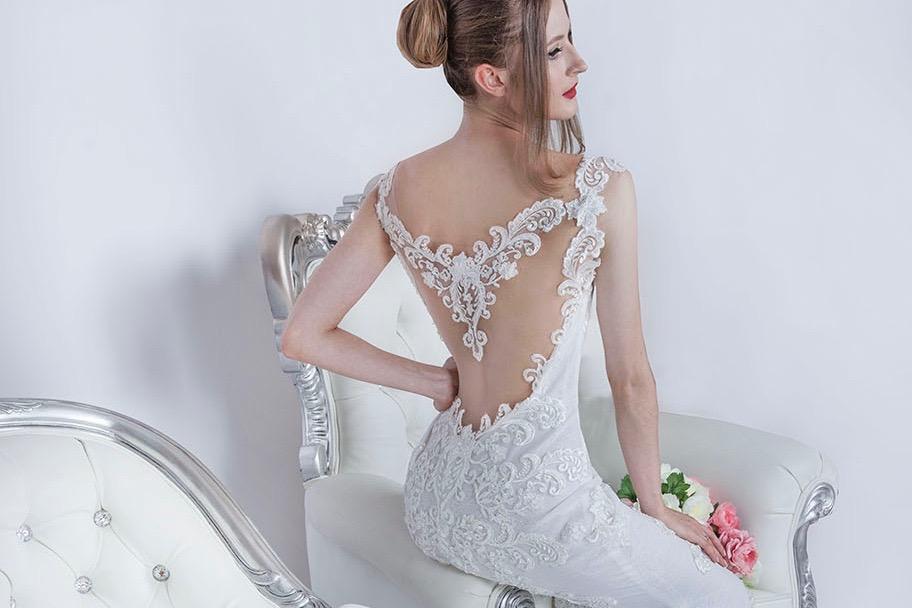 Robe de mariage tendre et sexy avec transparence