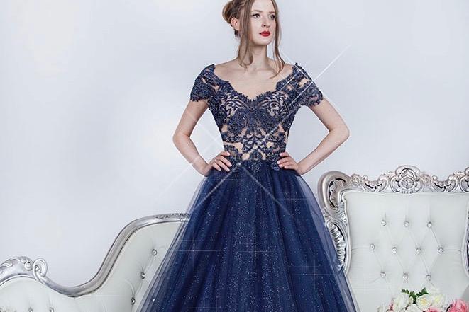 Robe de soirée princesse avec un tulle à paillettes