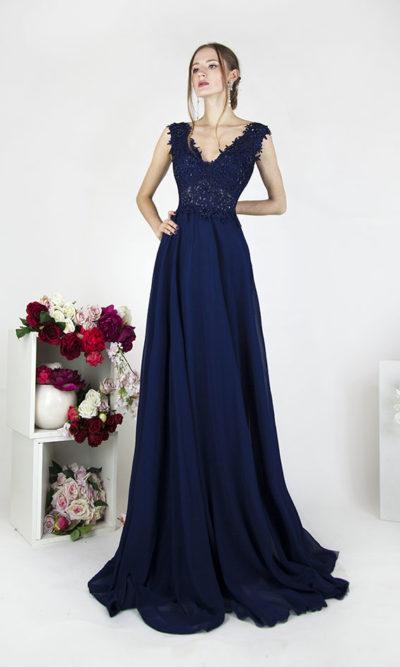 Robe de soirée pour cérémonie ou mariage avec décolleté en V
