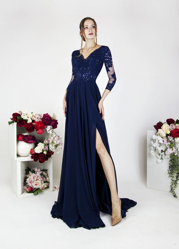 Robe de soirée bleu marine avec manches longues