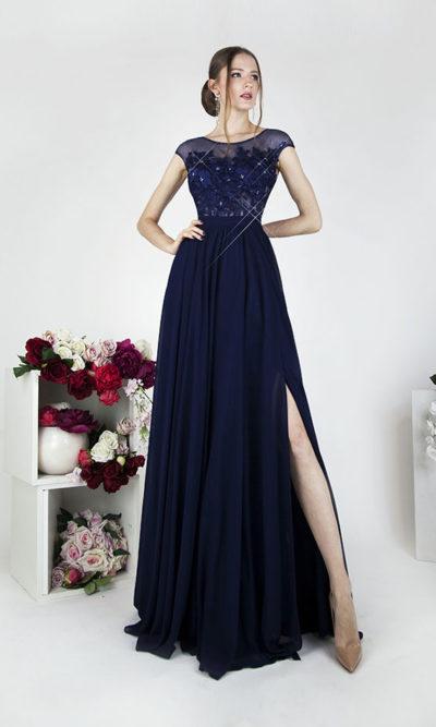 Robe de soirée bleu marine avec jupe fendue et strass