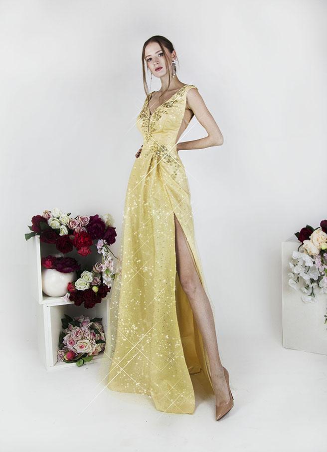 Robe de soirée dorée avec perles et cristaux