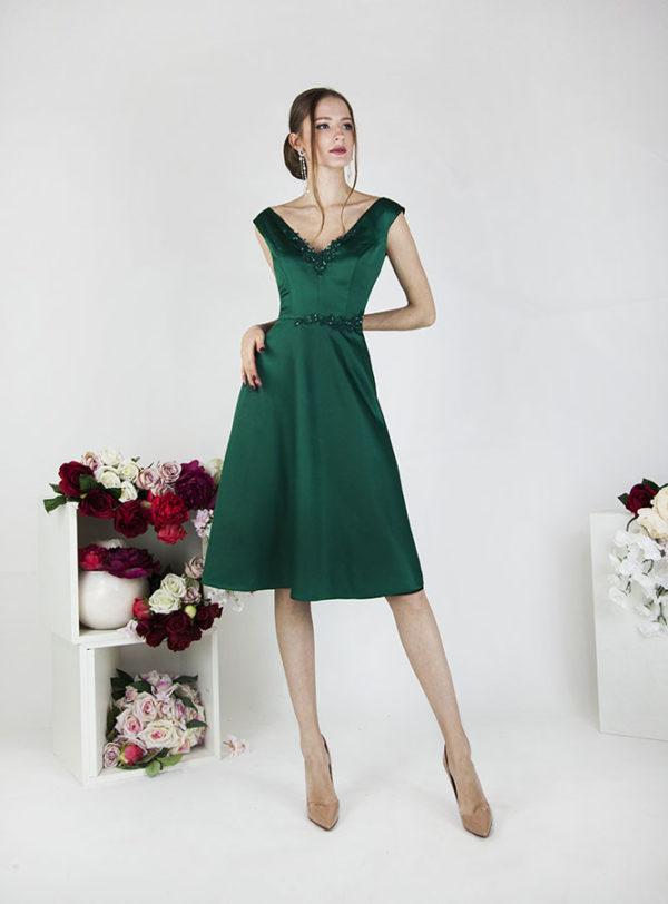 Robe de cérémonie pour mariage couleur verte