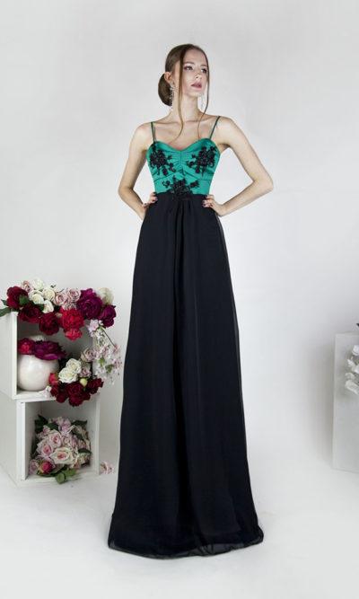 Robe de soirée avec jupe fluide noire et bustier en satin vert émeraude